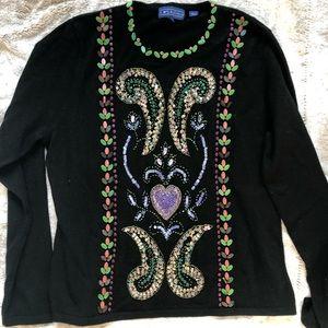 J. McLaughlin black sequin sweater size L